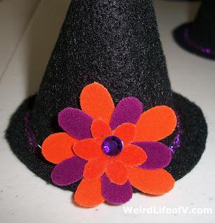 DIY Black felt Witch hat with layered felt flowers