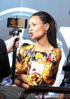 Thandie Newton being interviewed at the Westworld premiere in Hollywood.