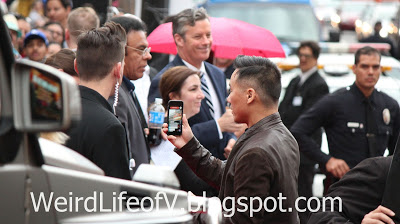 BD Wong arrives to the premiere while Periscoping - Jurassic World Premiere