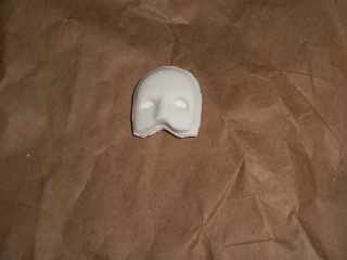 Partially completed DIY air dry clay Phantom of the Opera Mask