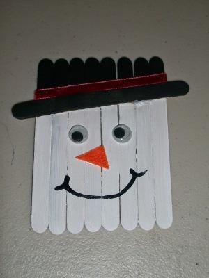 DIY Snowman Popsicle Stick ornament