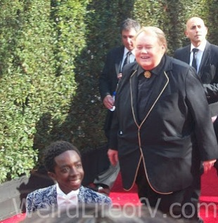 Louie Anderson and Caleb McLaughlin at the 2016 Emmys