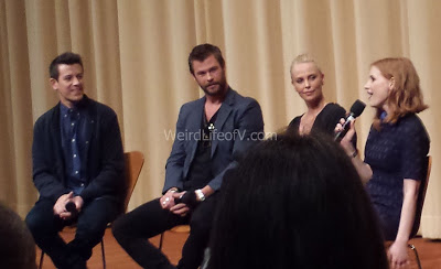 Ben Lyons, Chris Hemsworth, Charlize Theron, and Jessica Chastain
