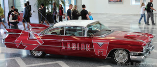 Legion M car displayed in the lobby of the San Jose Convention Center