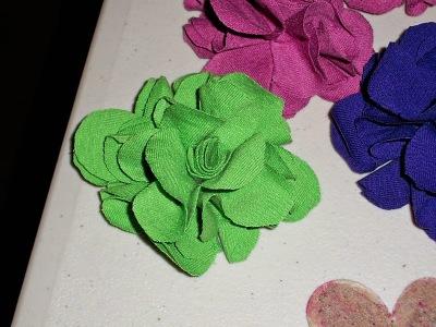 DIY T-shirt fabric rose pins