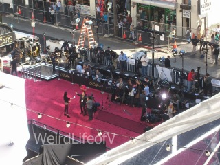 View of Oscars 2013 red carpet being set up from the 3rd level of the Hollywood and Highland Center.
