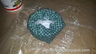Placing fabric around bowl mold to dry