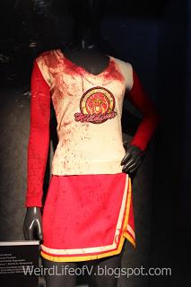 Bloody cheerleader costume on display in the Heroes Gallery