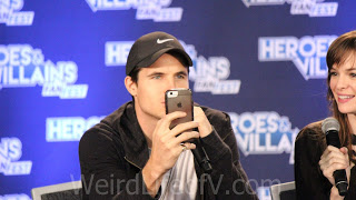 Robbie Amell on Facebook Live during his panel with Danielle Panabaker - Heroes and Villains Fan Fest San Jose 2015