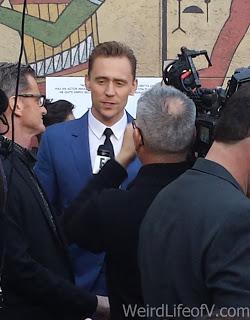 Tom Hiddleston being interviewed on the red carpet