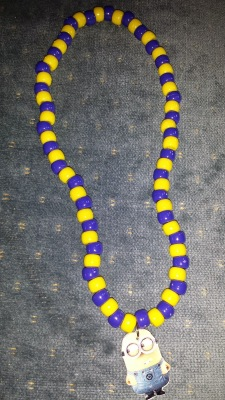 Completed Minion necklace for Despicable Me Party Favor
