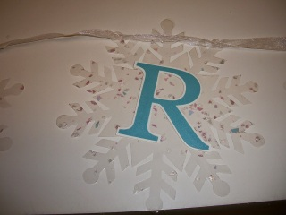 Glue Letters cut with Cricut to snowflakes