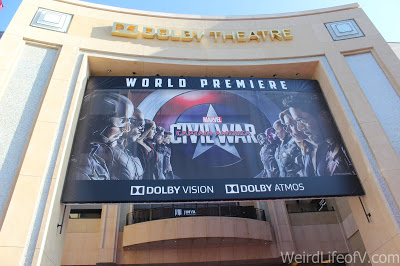 Captain America: Civil War Premiere banner under the Dolby Theatre sign at the Hollywood and Highland Center