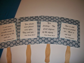 DIY hand fans with Hunger Games movie quotes - Peeta Mellark