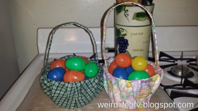 Finished fabric Easter baskets