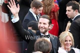 Bradley Cooper waving to the fans