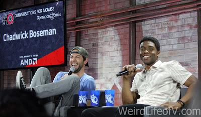 Zachary Levi laughing hysterically and Chadwick Boseman