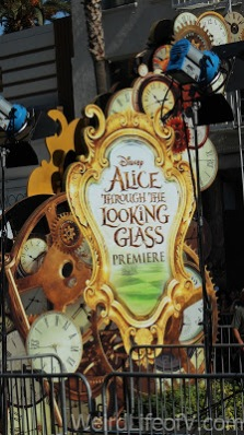 Signage and decorations for the Alice Through the Looking Glass premiere