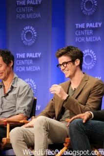 Grant Gustin laughing
