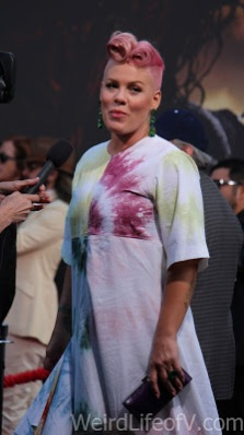 Pink being interviewed on the red carpet