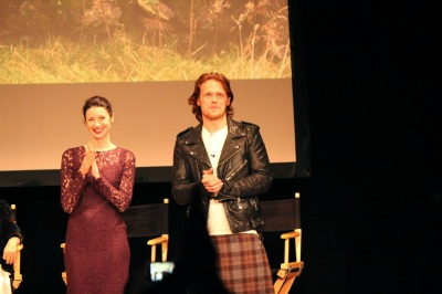 Caitriona Balfe and Sam Heughan on stage for the Outlander Fan Event at the Orpheum Theatre in Los Angeles