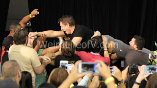 John Barrowman stage dives after playing Super Charades