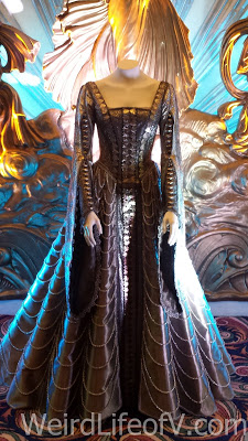 One of Emily Blunt\'s character, Freya, costumes on display in the theater lobby