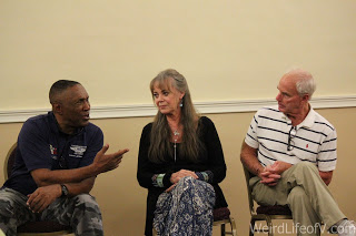 Herbert Jefferson, Jr., Anne Lockhart and Jack Stauffer at the Battlestar Gallactica panel at Classic Comic Con in Modesto, CA 2016