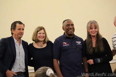 Dirk Benedict, Sarah Rush, Herbert Jefferson, Jr., and Anne Lockhart during the Battlestar Galactica panel during Classic Comic Con 2016.