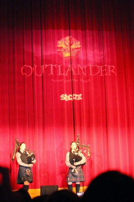 Bagpipers performing prior to the Outlander Fan Event panel at the Orpheum Theatre in Los Angeles.