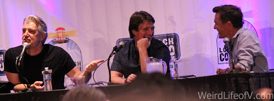 PJ Haarsma, Nathan Fillion, and Nolan North at the Con Man panel during LBCC 2016