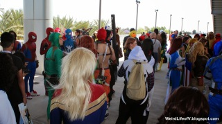 Marvel cosplayers hanging out prior to the photoshoot