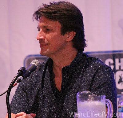 Nathan Fillion at the Con Man panel during LBCC 2016