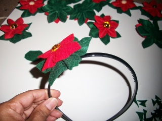 DIY Felt poinsettia headband