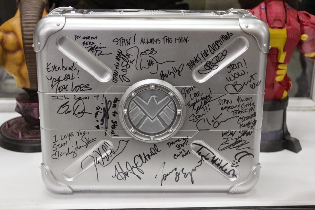 S.H.I.E.L.D. Briefcase signed by Marvel Film & TV cast members on display at Stan Lee\'s Comikaze 2014
