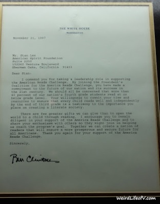Letter from President Bill Clinton to Stan Lee