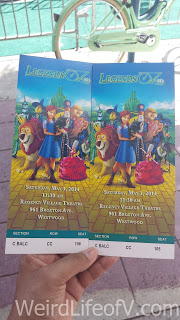 Two of our tickets for the Legends of Oz: Dorothy\'s Return premiere