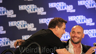 John Barrowman crashing the panel to give Paul Blackthorne a hug - Heroes and Villains Fan Fest San Jose 2015