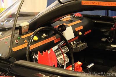 Inside of a batmobile replica at SuperToyCon 2016