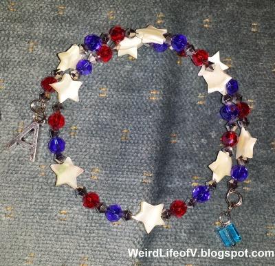 Captain America inspired beaded memory wire bracelet