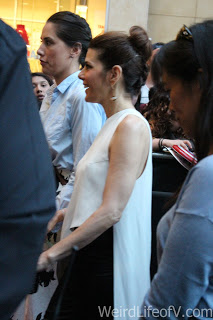 Marisa Tomei walking the red and blue carpet