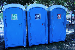 Funny South Park themed signs on the port-a-potties