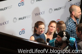 Danielle Panabaker doing press before the panel