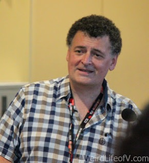 Steven Moffat doing a Q and A with party guests