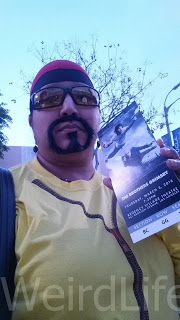 Selfie of me as Ali G with my ticket to the premiere