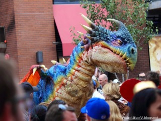 Dragon puppet/costume in the Gaslamp Quarter - Outside San Diego Comic Con 2013