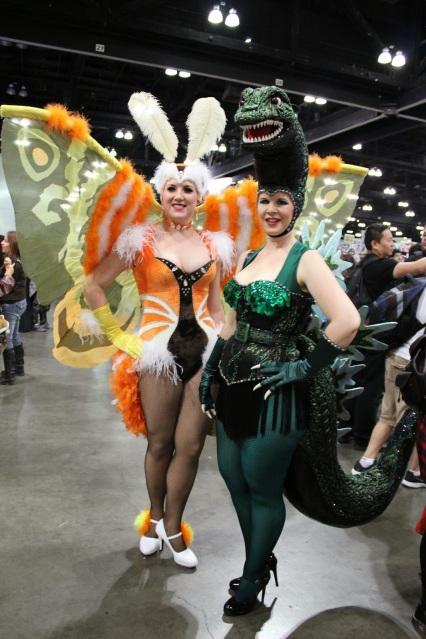 Cosplay: Mothra and Godzilla showgirls