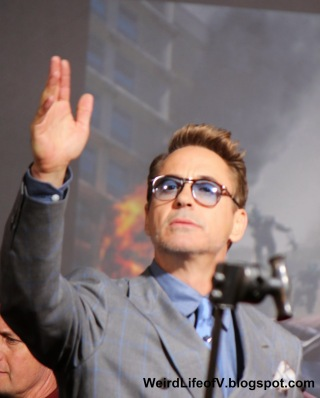 Robert Downey Jr. waving to the fans