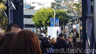 My semi-obstructed view of the press area of the red carpet