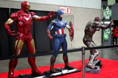 Life-size figures of Iron Man, Captain America, and Iron Man at Stan Lee\'s Comikaze 2014